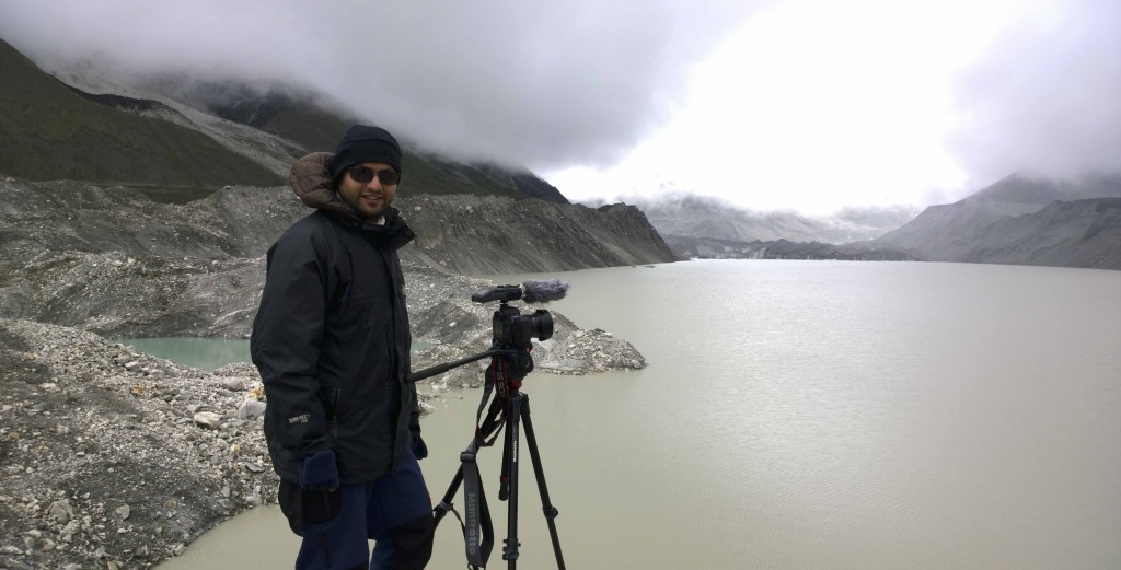Reporting from Imja Glacier, Everest region, 2014.