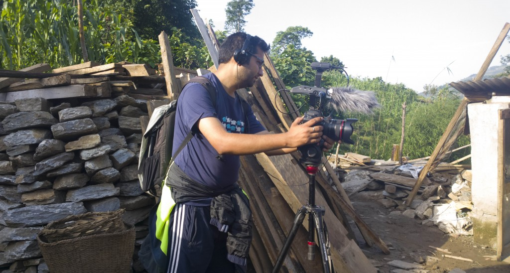 Reporting at the earthquake's epicenter Barpak, 2015.